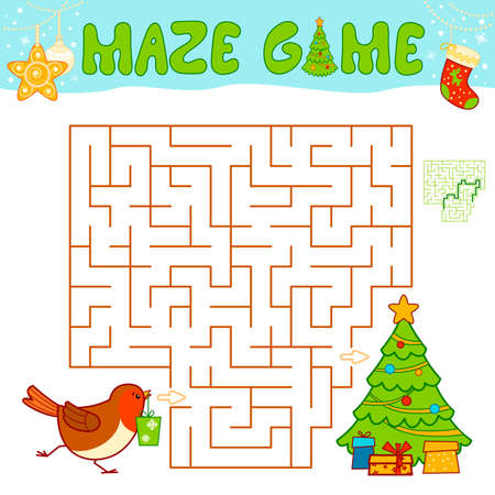 Christmas Maze puzzle game for children. Maze or labyrinth game with Christmas Bird. Иллюстрация