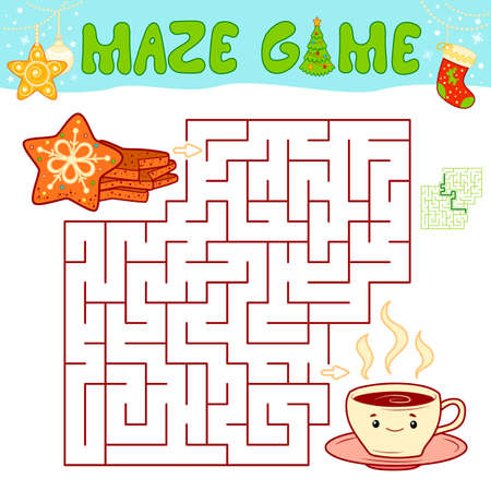 Christmas Maze puzzle game for children. Maze or labyrinth game with Christmas cookie.
