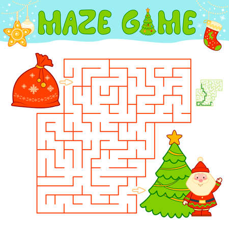 Christmas Maze puzzle game for children. Maze or labyrinth game with Christmas bag Иллюстрация