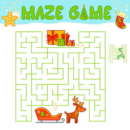 Christmas Maze puzzle game for children. Maze or labyrinth game with Christmas sleigh.