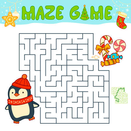 Christmas Maze puzzle game for children. Maze or labyrinth game with Christmas penguin.