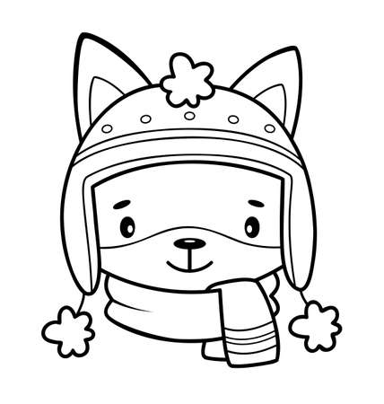 Christmas coloring book or page. Christmas animal black and white vector illustration