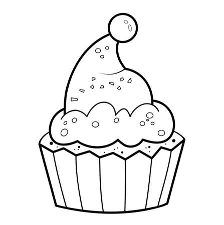 Christmas coloring book or page. Christmas cake black and white vector illustration