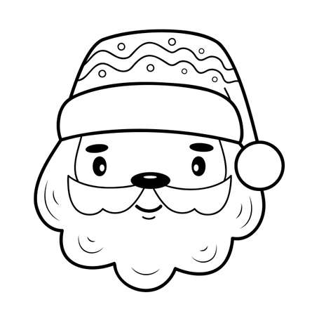 Christmas coloring book or page. Christmas Santa Claus black and white vector illustration