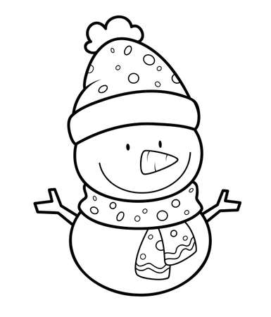 Christmas coloring book or page. Christmas snowman black and white vector illustration