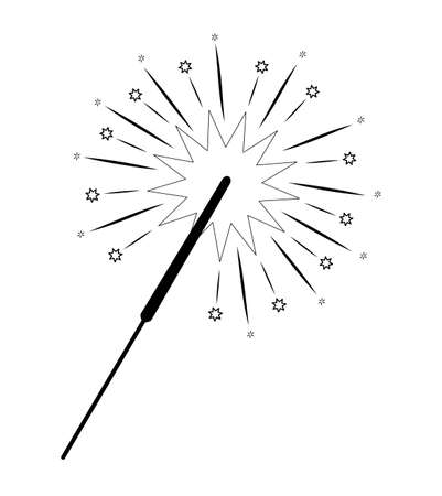 Christmas coloring book or page. Christmas sparkler black and white vector illustration Иллюстрация