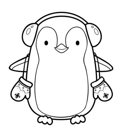 Christmas coloring book or page. Christmas penguin black and white vector illustration