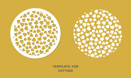 Template for laser cutting, wood carving, paper cut. Circle pattern for cutting. Decorative panel vector stencil. Иллюстрация