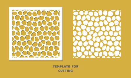 Template for laser cutting, wood carving, paper cut. Square pattern for cutting. Decorative panel vector stencil. Иллюстрация