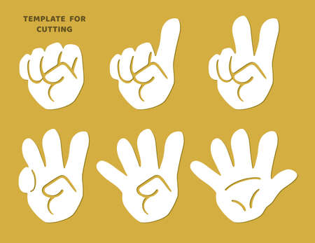 Hands with fingers. Template for laser cutting, wood carving, paper cut. Silhouettes for cutting.