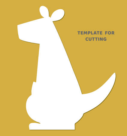 Template for laser cutting, wood carving, paper cut. Animal silhouettes for cutting. Kangaroo vector stencil.