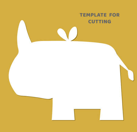 Template for laser cutting, wood carving, paper cut. Animal silhouettes for cutting. Rhino vector stencil.