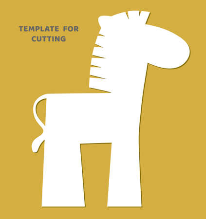Template for laser cutting, wood carving, paper cut. Animal silhouettes for cutting. Zebra vector stencil. Иллюстрация