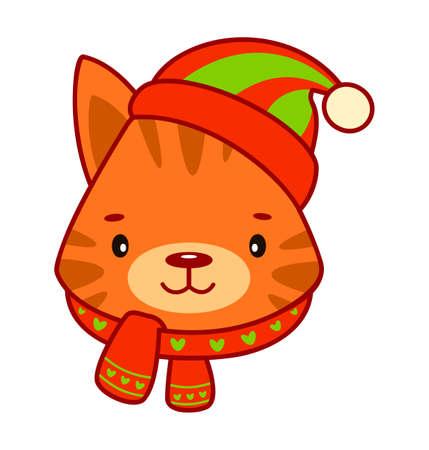 Christmas cartoons clip art. Christmas animal clipart vector illustration Иллюстрация