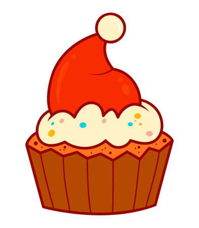 Christmas cartoons clip art. Christmas cake clipart vector illustration Иллюстрация