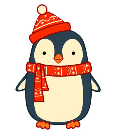 Christmas cartoons clip art. Christmas penguin clipart vector illustration