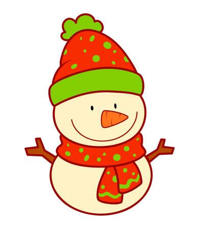 Christmas cartoons clip art. Christmas snowman clipart vector illustration