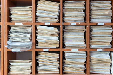 Generic Medical Record Folder on Shelf. close-up