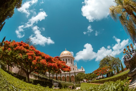 Bahai temple in Bahai garden, Carmel mountain, Haifa, Israel. photo