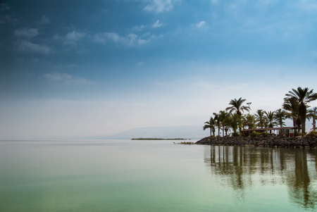 Kinneret, Galilee sea, Israel, Tiberias lake with palms on the seashore calm green water and blue sky. Biblical Place where Jesus walked on the water