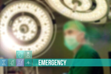 general surgery: Emergency medical concept image with icons and doctors on background Stock Photo