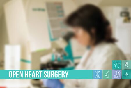 general insurance: Open Heart Surgery medical concept image with icons and doctors on background
