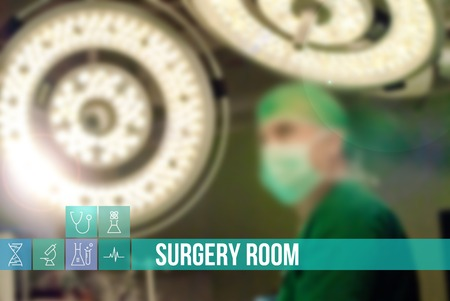 general insurance: Surgery room medical concept image with icons and doctors on background Stock Photo