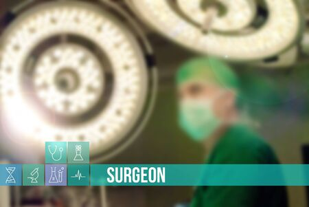 general insurance: Surgeon medical concept image with icons and doctors on background