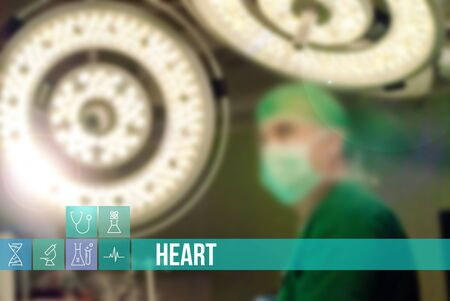 insurance themes: Heart medical concept image with icons and doctors on background