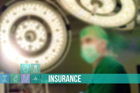 surgery concept: Insurance medical concept image with icons and doctors on background