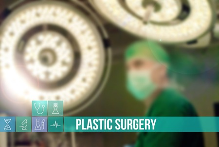 general insurance: Plastic surgery medical concept image with icons and doctors on background Stock Photo