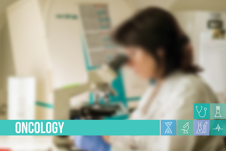 Oncology medical concept image with icons and doctors on background Standard-Bild
