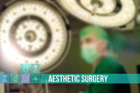 Aesthetic surgery text medical concept image with icons and doctors on background Standard-Bild