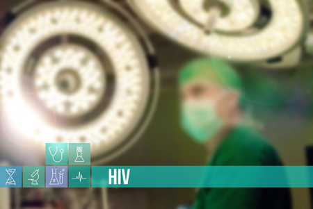 HIV medical concept image with icons and doctors on background
