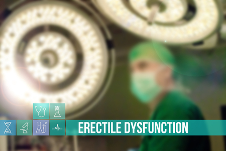 Erectile Dysfunction medical concept image with icons and doctors on background
