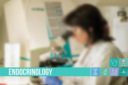 general surgery: Endocrinology medical concept image with icons and doctors on background Stock Photo