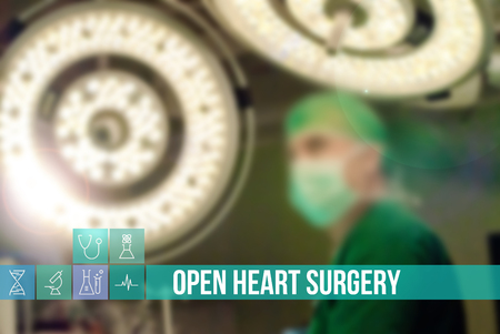 surgery concept: Open Heart Surgery medical concept image with icons and doctors on background