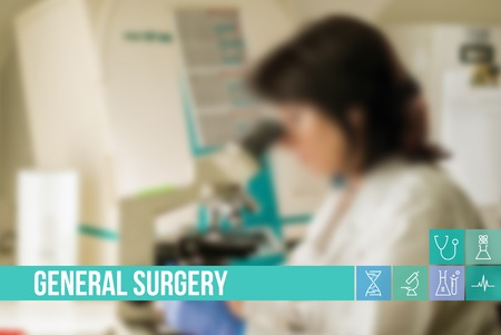 General surgery medical concept image with icons and doctors on background Standard-Bild
