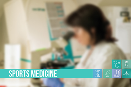 general insurance: Sports medicine medical concept image with icons and doctors on background