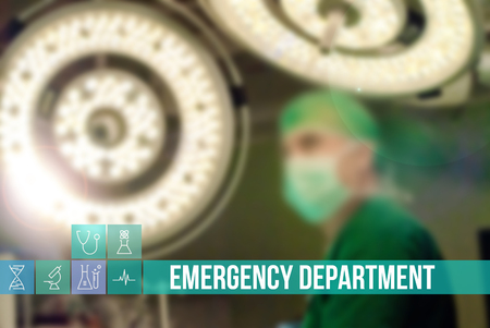 insurance themes: Emergency Department medical concept image with icons and doctors on background