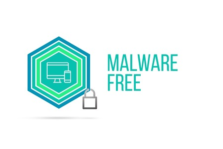 Malware free concept image with pentagon shape shield and lock illustration and icon illustrating the concept inside. Best to visualize your words. Standard-Bild