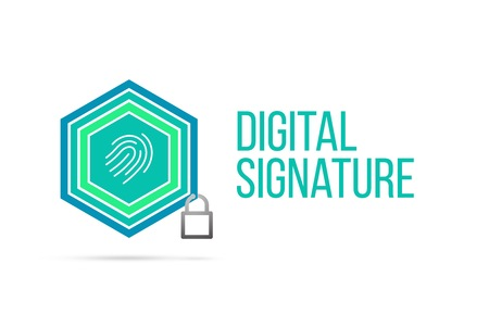 Digital signature concept image with pentagon shape shield and lock illustration and fingerprint icon illustrating the concept inside. Best to visualize your words. Standard-Bild
