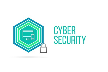 Cyber Security concept image with pentagon shape shield and lock illustration and icon illustrating the concept inside. Best to visualize your words.