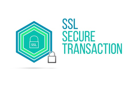 SSL secure transaction concept image with pentagon shape shield seal and lock illustration and icon illustrating the concept inside. Best to visualize your words.