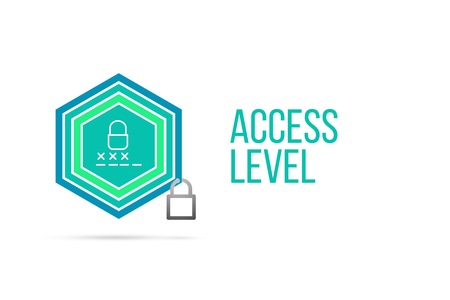 business security: access level concept image with pentagon shape shield and lock illustration and code entering icon illustrating the concept inside. Best to visualize your words.
