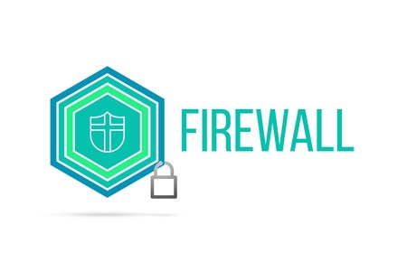 firewall concept image with pentagon shape shield and lock illustration and shield icon illustrating the concept inside. Best to visualize your words.