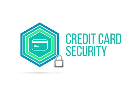 Credit card security concept image with pentagon shape shield and lock illustration and icon illustrating the concept inside. Best to visualize your words. Standard-Bild