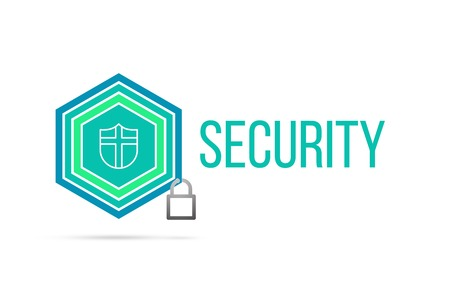 Security concept image with pentagon shape shield seal and lock illustration and icon illustrating the concept inside. Best to visualize your words.
