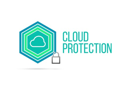 Cloud protection concept image with pentagon shape shield and lock illustration and icon illustrating the concept inside. Best to visualize your words.