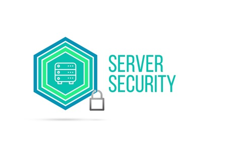 server security concept image with pentagon shape shield seal and lock illustration and icon illustrating the concept inside. Best to visualize your words. Standard-Bild